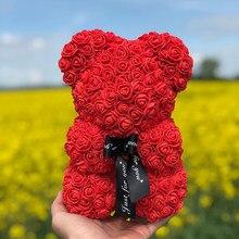 Прямая поставка, 25 см/40 см, плюшевый розовый медведь, искусственный цветок, Роза медведя, Рождественское украшение для дома, подарки на день ...