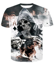2019 summer explosion black and white skull 3D T-shirt short-sleeved round neck digital printing hot shirt(China)
