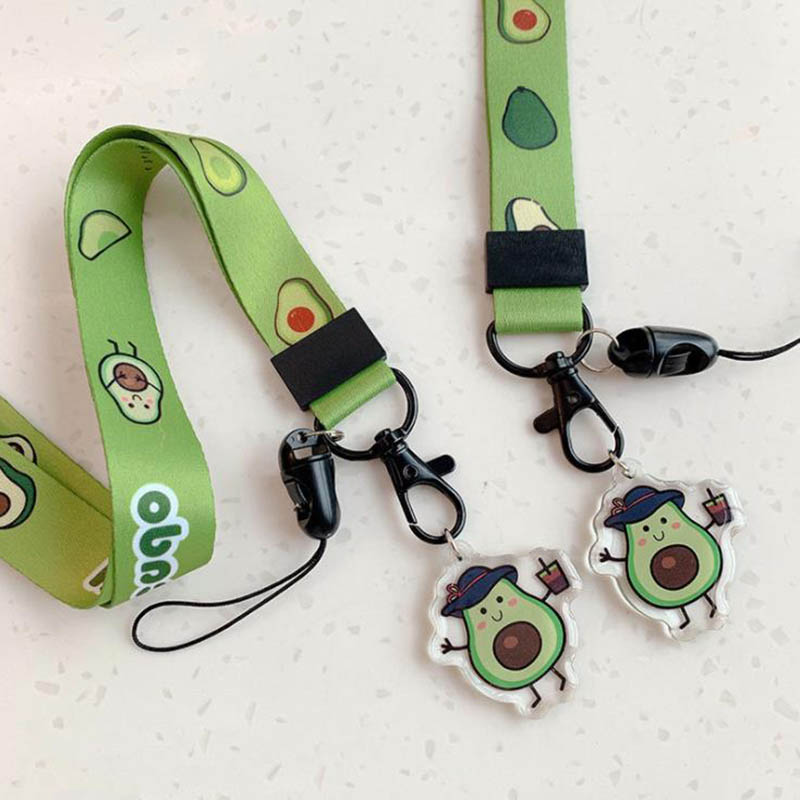 Lanyard Avocado Keychain Cute Cartoon Neck Strap Long Short Lanyard Mobile Phone Key Ring ID Card Gym Straps USB Badge Holder