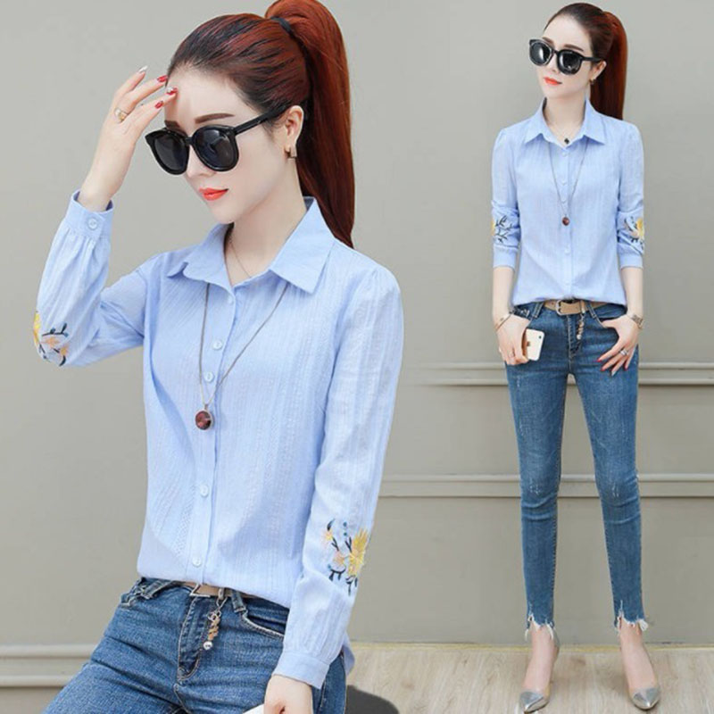 Flower Embroidery Women Spring Summer Style Chiffon Blouses Shirts Lady Casual Long Sleeve Chiffon Blusas Tops DF2995 7