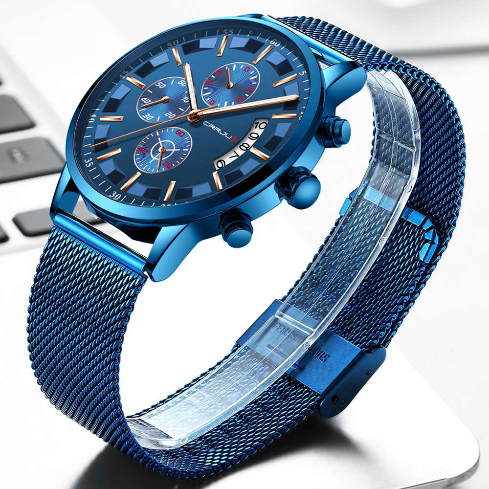 Crrju Mens Watches Waterproof Quartz Business Men Watch Top Brand Luxury Clock Casual Blue Sport Watch Relogio Masculino
