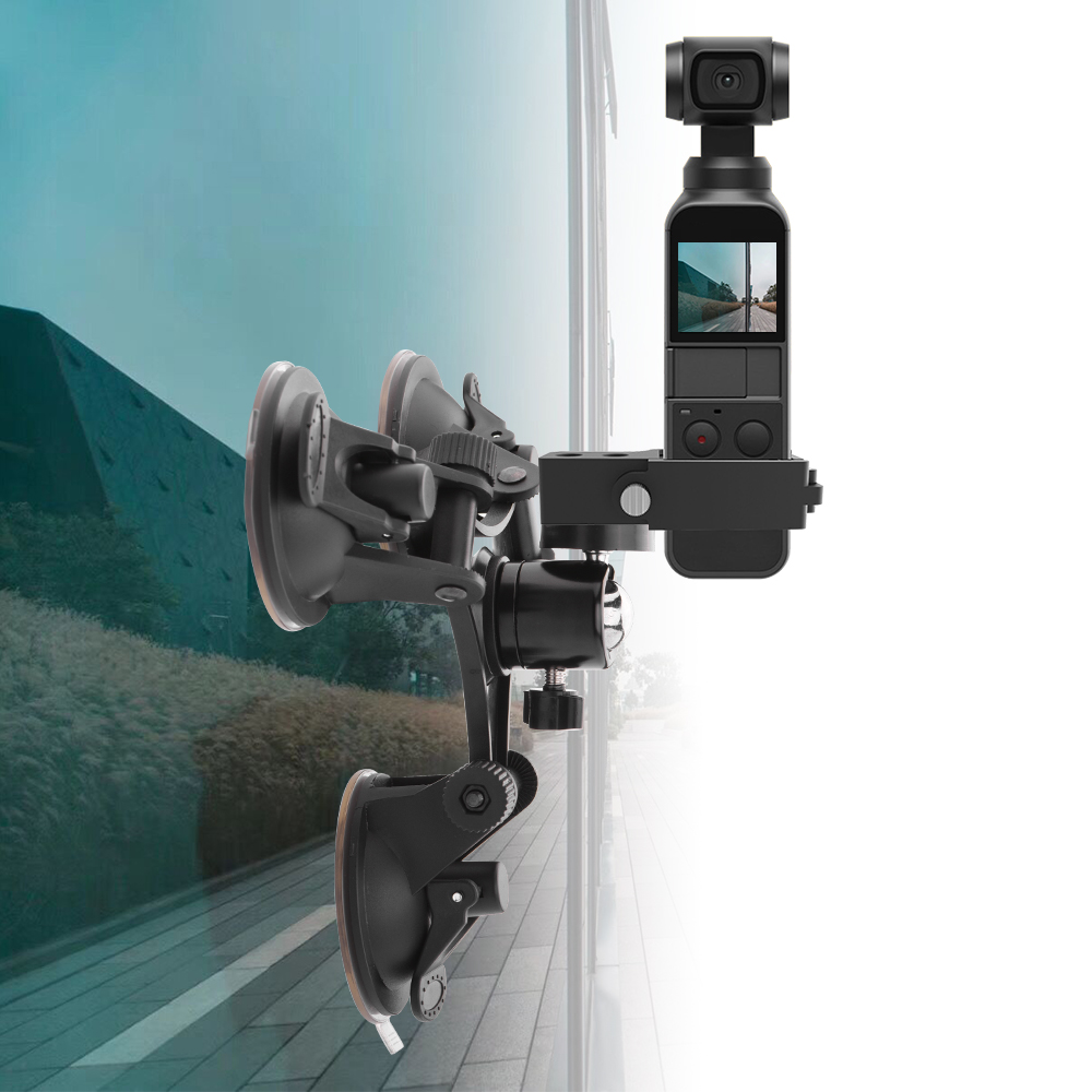 Car Holder Suction Cup Mount For DJI Osmo Pocket Camera Stabilizer Accessory With Aluminium Expansion Module Adapter Converter