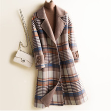 2020 Sping coat for women autumn winter plaid slim double faced cashmere coat women #8217 s wool coat back belt sashes long wool coat cheap Ages 35-45 Years Old MANDARIN COLLAR Double Breasted Regular Full Wool Blends 100 wool Office Lady S M L XL Han edition
