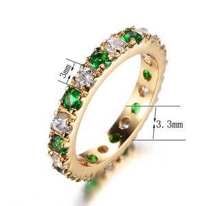 Image 2 - Bague Ringen כסף 925 טבעת עם 3MM זירקון אמרלד חן מקפץ רטרו מדהים קלאסי טבעת אישה Jewerly מתנה size5 9