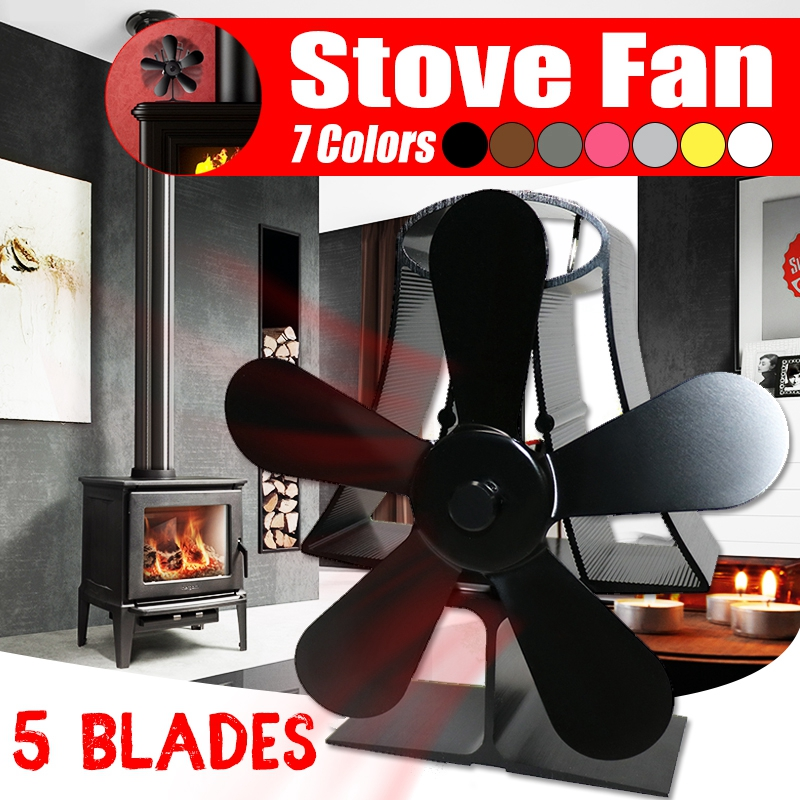 5 Blade Wall Mounte Vertical  Heat Fireplace Fan Stove Powered Stove Fan Hot Burner Wood Efficient Quiet Fan Heat Distribution