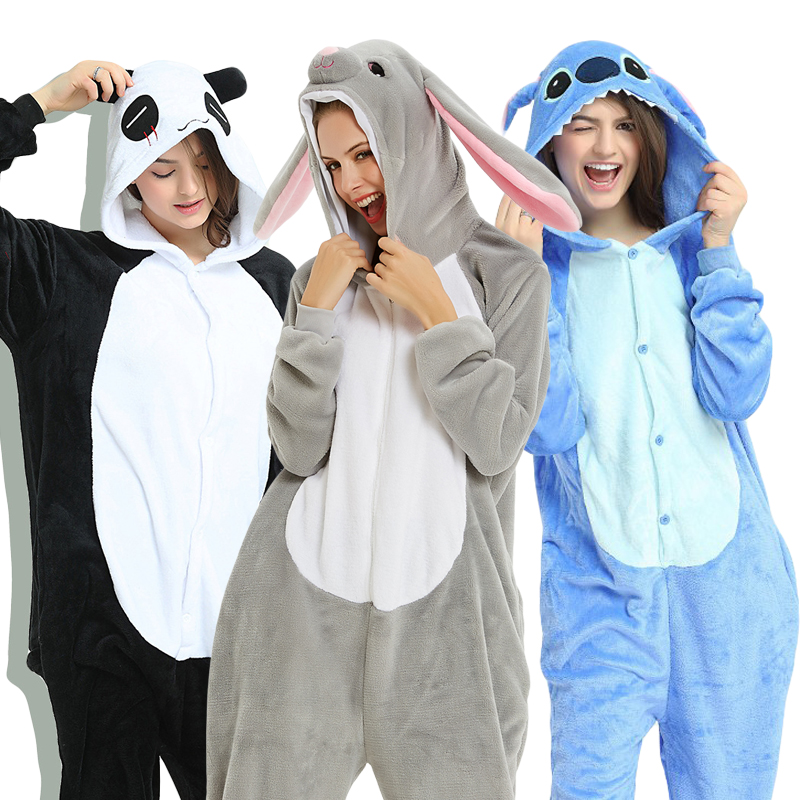 Pajamas Jumpsuit Onesies Wolf Anime-Costumes Kigurumi-Stitch Panda-Rabbit Adults Women title=