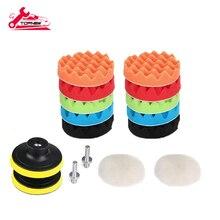 Drill-Polishing-Pads-Kit 3inch/80mm Waxing Sealing-Glaze Sanding Buffing for Car 16pcs