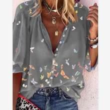 Blusas femininas 2021 primavera casual camisa feminina topos borboleta impressão botões senhora camisas com decote em v manga comprida blusa feminina