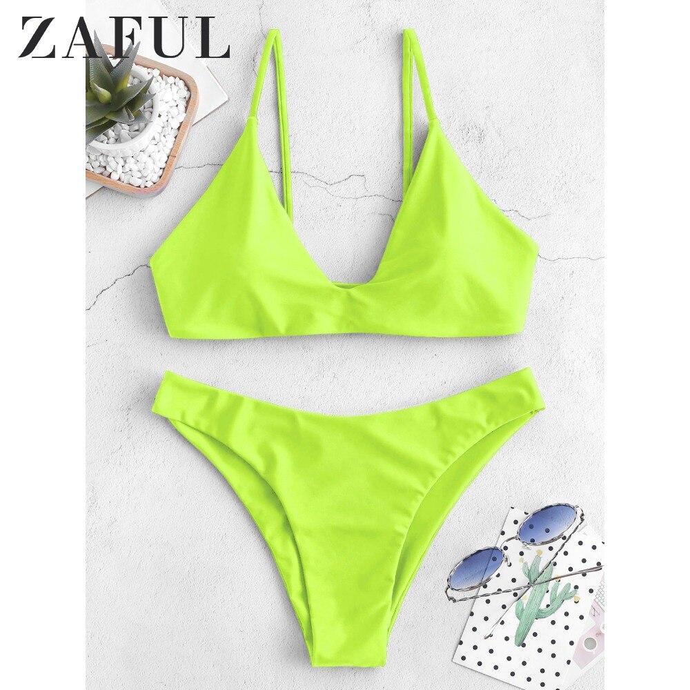 ZAFUL Bikini Back Tie Set Padded Spaghetti Straps Solid Swim Suit Pullover Women Summer Swimwear Bathing Back Lace Up Bikini Set