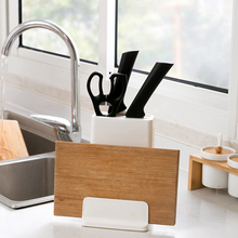 цена на Floor Multi-function Plastic Knife Block With Cutting Board Rack Utensil Accessories Stand Holder Kitchen Supplies Organizer