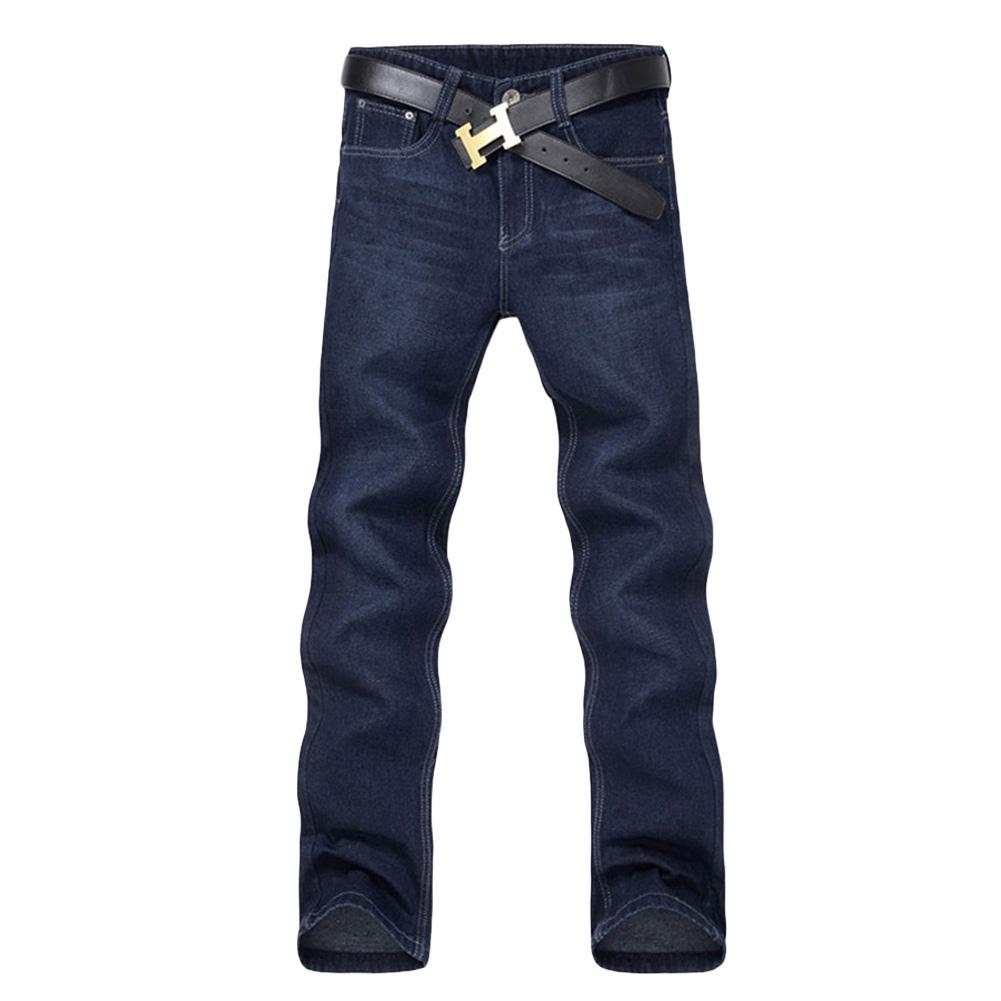 Classic Men Casual Mid-Rise Straight Denim Jeans Long Pants Comfortable Trousers Loose Fit New Brand Menswear джинсы мужские