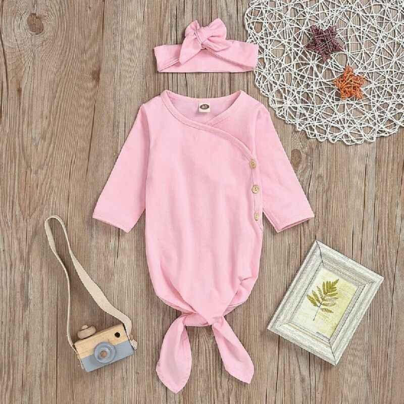 2019 Primavera Outono Bebê Roupas de Cama Sack Saco de Dormir Envoltório Swaddle Bebê Recém-nascido Infantil Sólida Longsleeve Roupa Conjunto Cabeça