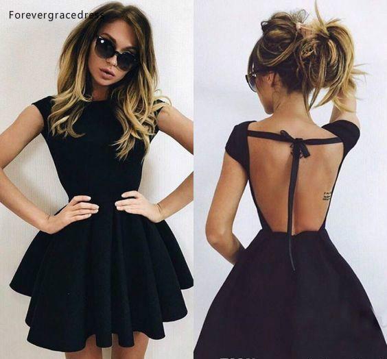 2019 Cheap Little Black Cocktail Dress A Line Jewel Neck Short Mini Semi Club Wear Homecoming Party Gown Plus Size Custom Make