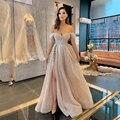 UZN элегантный розового цвета Милая блестками платье для выпускного вечера горячая Распродажа с открытыми плечами платье трапециевидной фо...