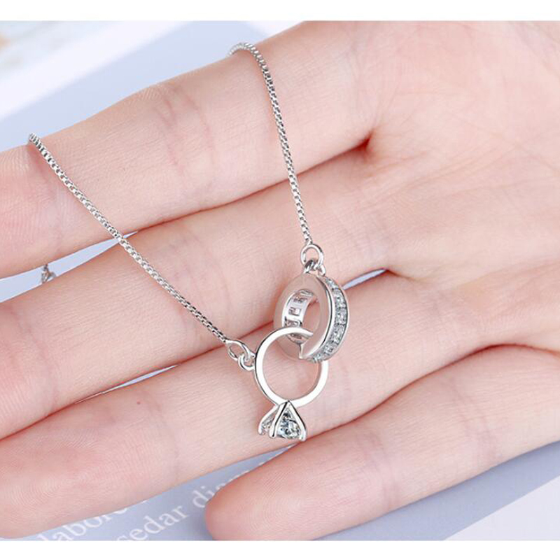 Trendy 925 Silver Heart Double Circle Geometric Charm Bracelets for Women Zircon Bracelet pulseira feminina Valentine's Day Gift