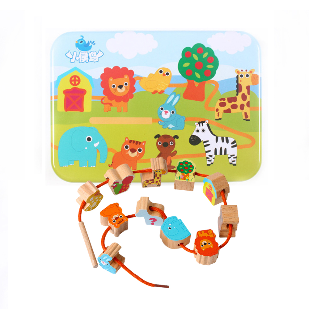Beaded Wooden Toys Baby DIY Toy Cartoon Fruit Animal Stringing Threading Wooden Beads Toy Monterssori Educational For Children