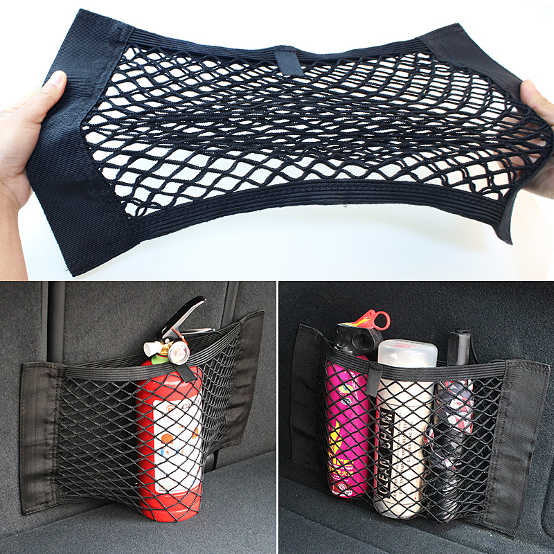 Auto Back Rear Mesh Kofferbak Seat Elastische String Net Magic Sticker Universele Opbergtas Pocket Kooi Auto Organizer Seat Terug tas
