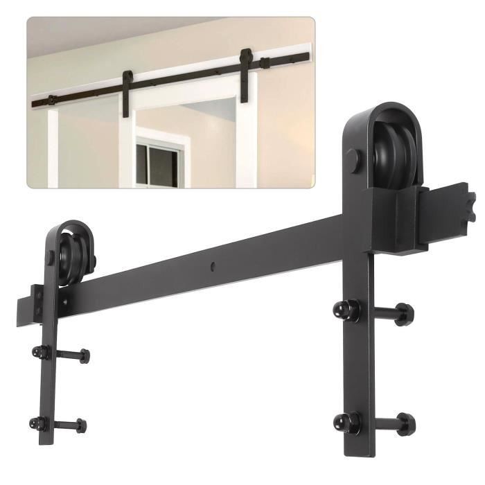 183CM Barn Door Hanging Rail For Europe Rustic Black Sliding Hardware Cabinet Wood Door Sliding Track Kit Ship To Europe HWC