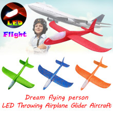 Foam Throwing Glider Airplane Inertia LED Aircraft Toy Hand Launch Model