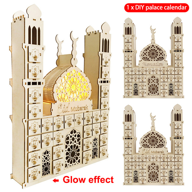 Compte à rebours à piles musulman bricolage palais eidmoubarak RAMADAN bureau Date ornement cadeau Led en bois calendrier artisanat décor à la maison
