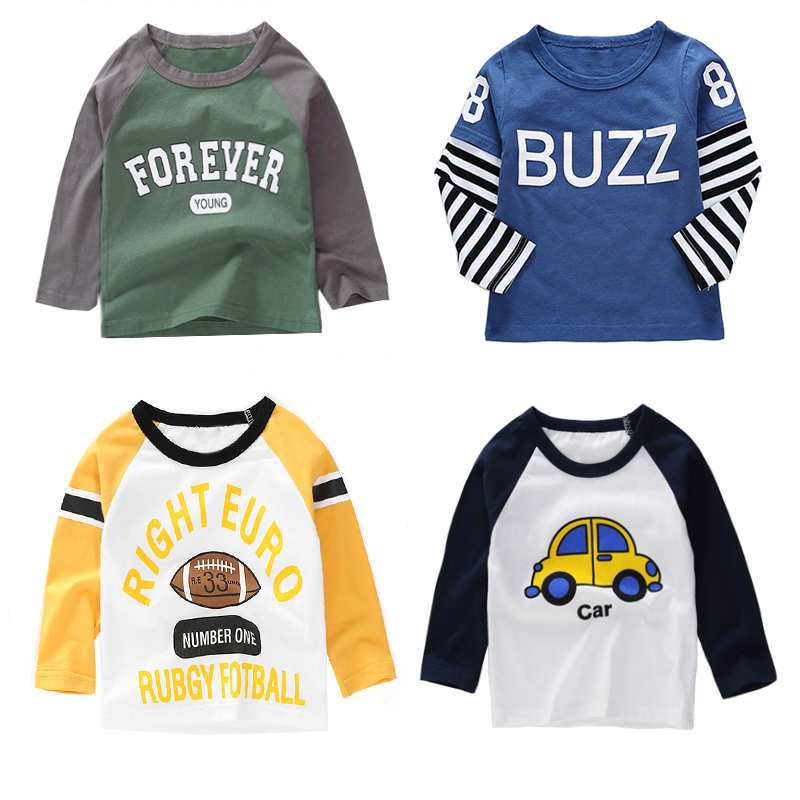 Baby Tops T-Shirts Spring Children Tees Long-Sleeve Girls Boys Cotton Cartoon Brand New