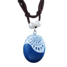 Моана, ожерелье из Моаны с цепочкой из Моаны, ожерелье с синим камнем и подвеска из кожи и замши