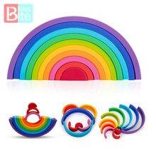 Silikon Regenbogen Stacker Bausteine Pädagogisches Baby Spielzeug 1 Set Puzzle Montessori Regenbogen Serie Stapeln Spiel Lernen Spielzeug