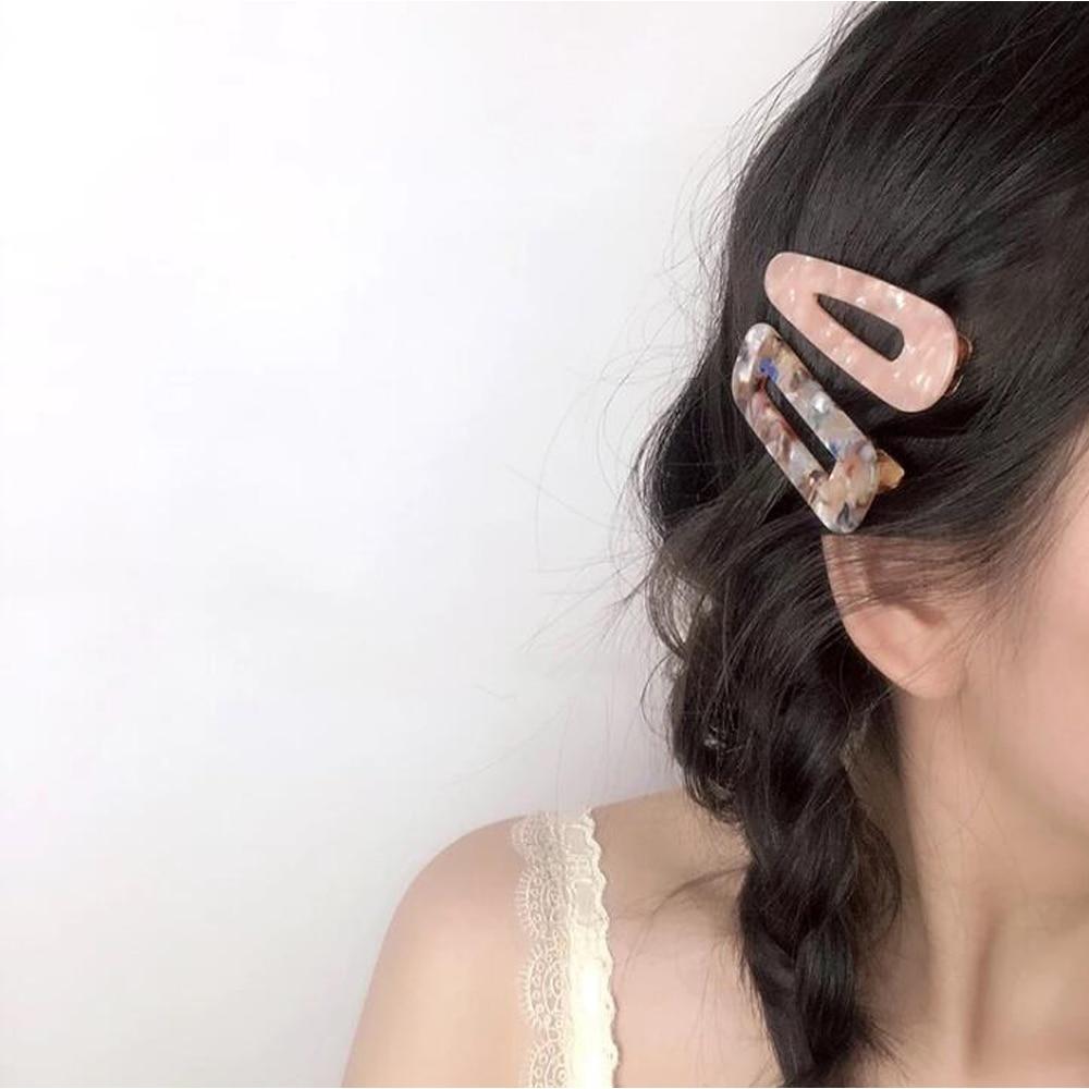 Les femmes Japon acétate long coloré Barrettes élégant Pince à Cheveux Métal épingle à cheveux NEUF