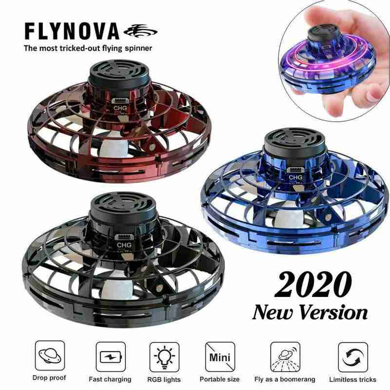 Mini Fingertip Rotating Flying Gyroscope Induction UFO Drone Toy With LED Lights Induction UFO Decompression Toys For Children