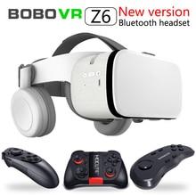 Najnowszy Bobo vr Z6 okulary VR bezprzewodowy zestaw słuchawkowy Bluetooth okulary VR Android IOS pilot zdalnego Reality VR 3D kartonowe okulary 4.7  6.2 cal