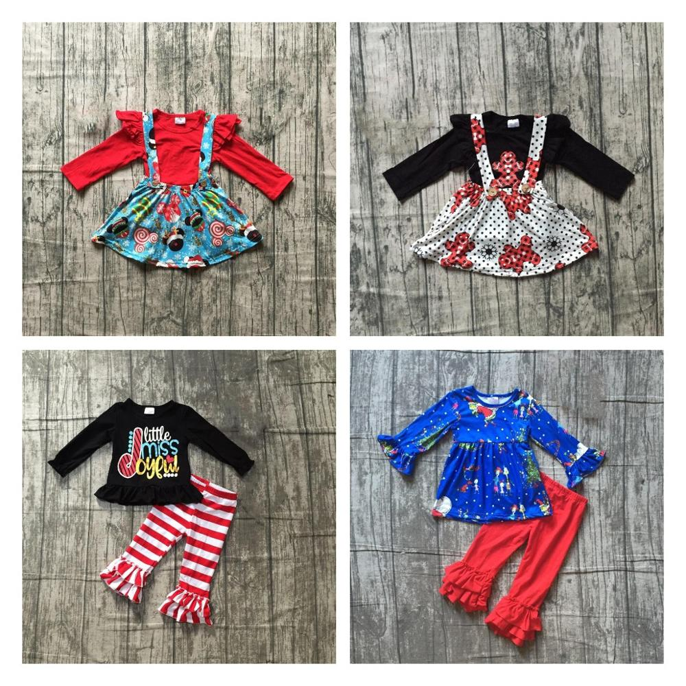 Special Offer Girlymax Christmas Fall/Winter Baby Girls Clothes Children Cotton Boutique Outfits Ruffles Pants Set Skirt 1