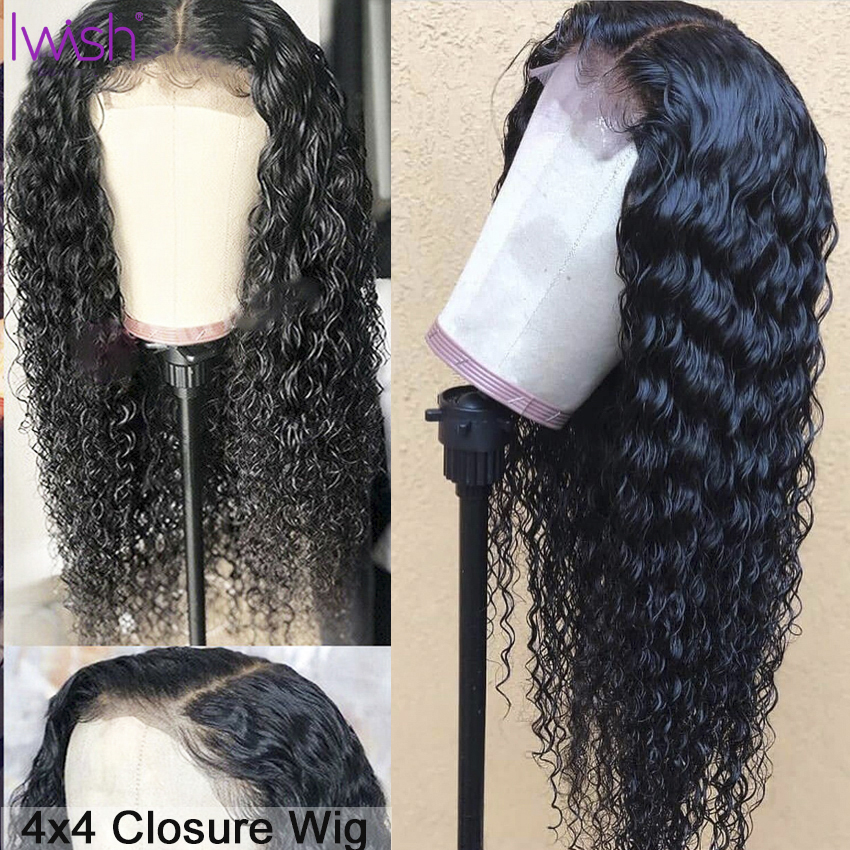 Closure Wig Curly Human Hair Wig For Black Women Pre Plucked With Baby Hair Remy Brazilian Hair 4x4 Deep Part Closure 150% Wig