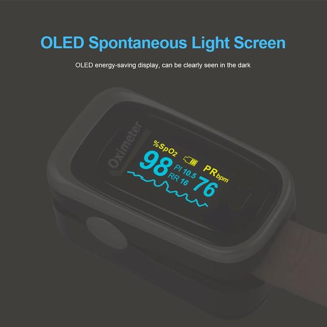 OLIECO Finger Pulse Oximeter Sleep Child Adult SPO2 PR PI RR Monitor Household Blood Oxygen Saturate OLED Oximetro Abnormal Alam 5