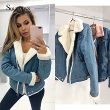 Women Denim Jacket With Fur Women Autumn Winter Denim Jacket