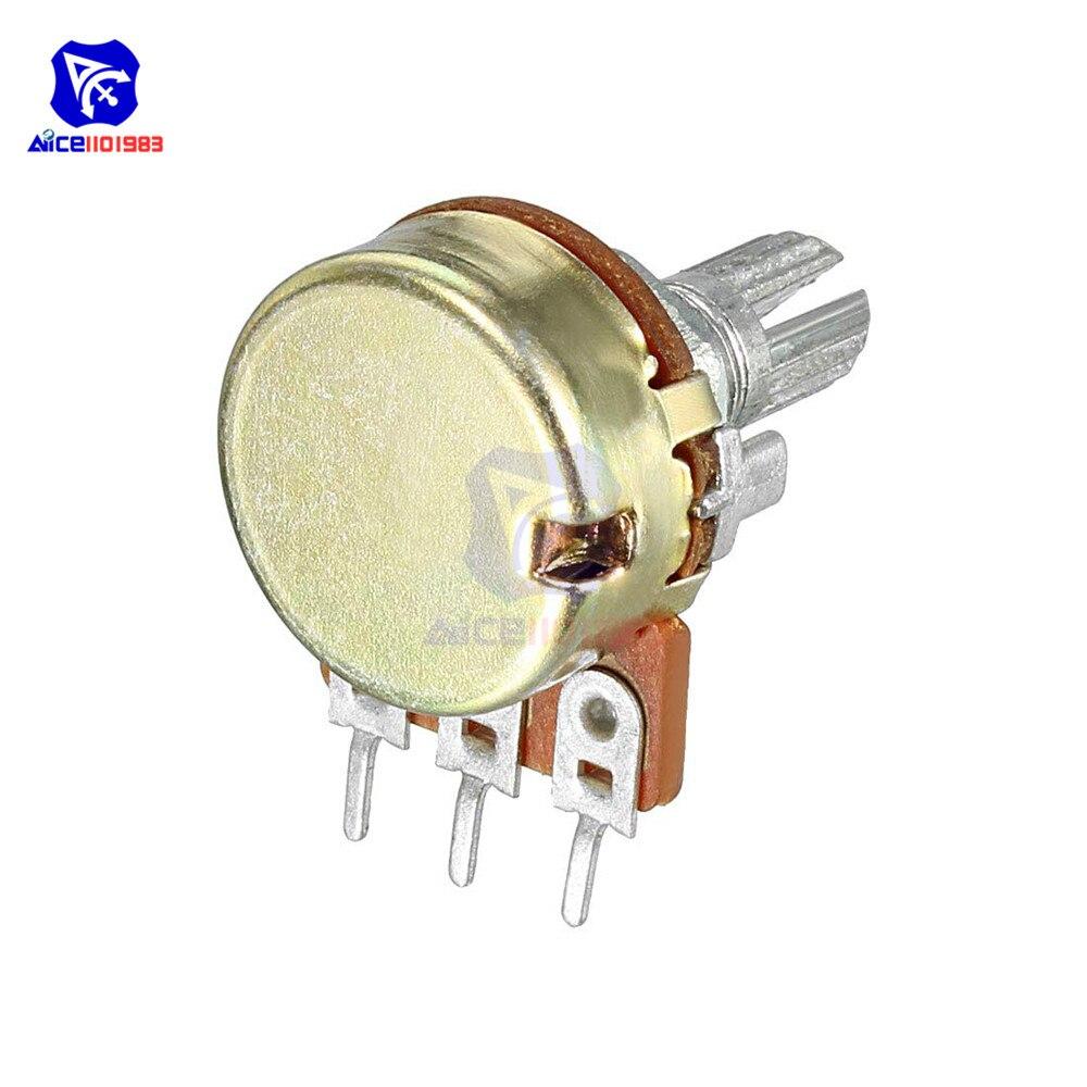Diymore 1 шт. потенциометр резистор 1K 5K 10K 20K 50K 100K 500K Ом 3 Pin Линейный Конус поворотный потенциометр для Arduino с крышкой