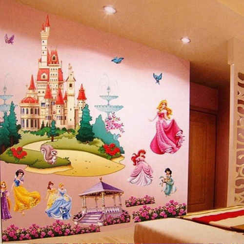 New 1pcs 3D Large colorful  Seven Princess Castle Sticker Art Design Wall Decal Kid Home Decor Vinyl Decal Girls Mural Nursery