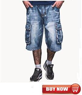 Mcikkny Summer Men's Cargo Denim Shorts Multi pockets Hip Hop Loose Jeans Shorts For Male Washed