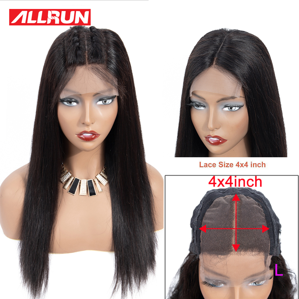 Allrun 4*4 Lace Closure Human Hair Wigs For Black Women Short Lace Wigs Malaysia Straight Non-Remy Pre Plucked 130% Low Raito