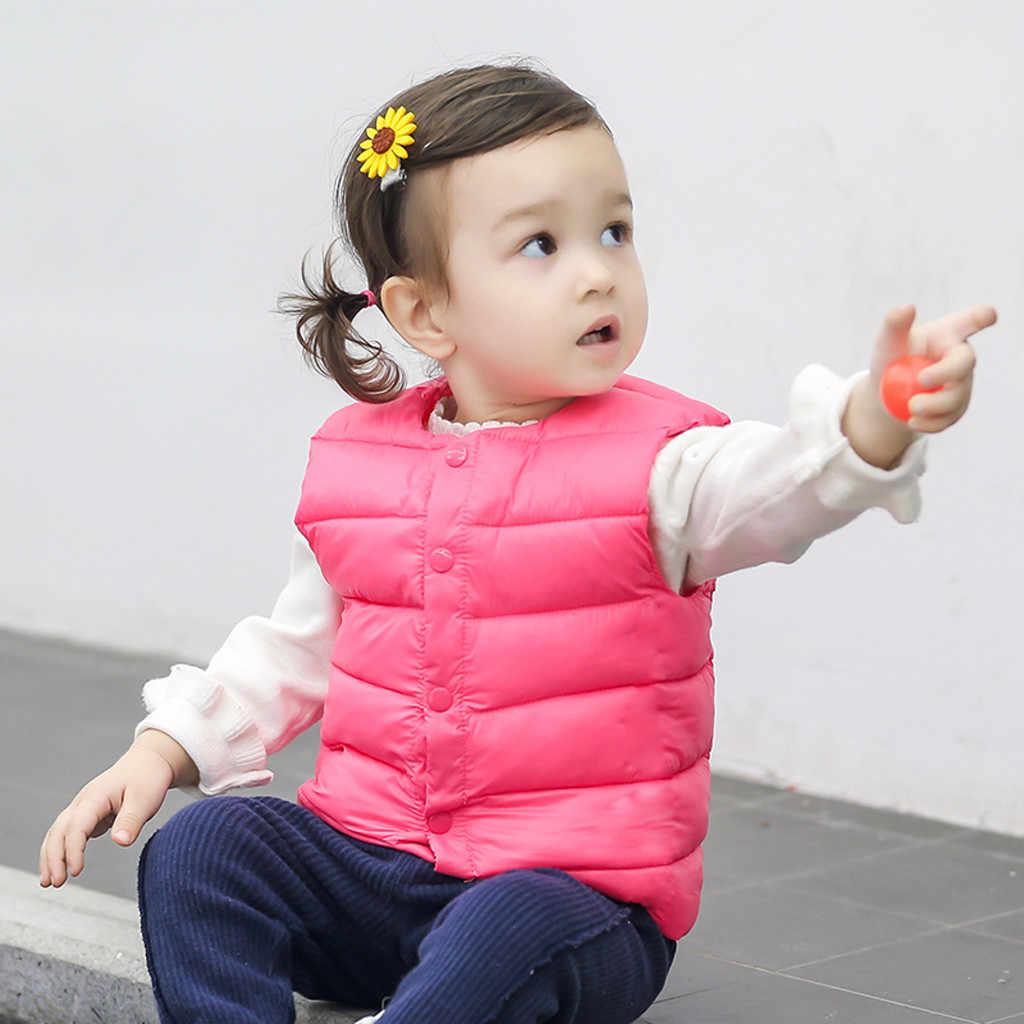Chaleco para niños, chaleco para bebés, Grils para niños, chaleco de rayas sólidas, abrigo de abrigo, ropa de otoño e invierno 2019