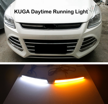 ECAHAYAKU Car Flashing led Daytime Running Light drl daylight for Ford Kuga Escape 2013 2014 2015 2016 with yellow turn signal