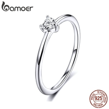 BAMOER, горячая распродажа, 925 пробы, Серебряное сердце, прозрачный CZ, простые кольца на палец для женщин, Обручальные, свадебные, массивные ювелирные изделия SCR498