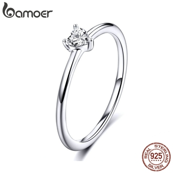 BAMOER HOT SALE 925 Sterling Silver Heart Clear CZ Simple Finger Rings for Women Engagement Wedding Statement Jewelry  SCR498