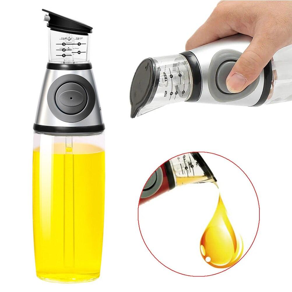 500ml yağ dağıtıcı yağ sirke dağıtıcı cam şişe ölçümleri ile yağ püskürtücü dağıtıcı mutfak pişirme aracı