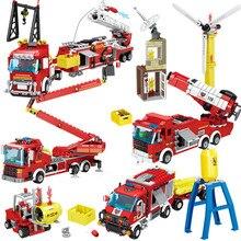 도시 화재 구조 차량 숲 사다리 소방차 자동차 빌딩 블록 세트 소방관 Brinquedos 교육 완구 어린이를위한