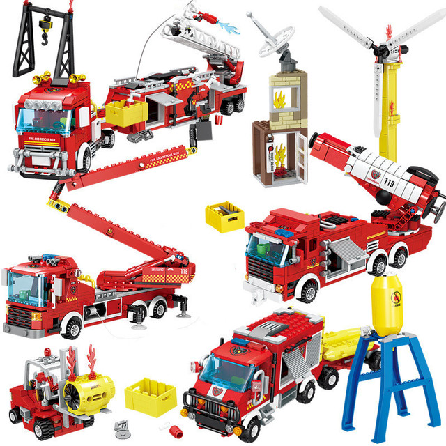City Fire Rescue Vehicle Forest Ladder Fire Truck Car Building Blocks Creator Firefighter Figures Playmobil Brinquedos Kids Toys