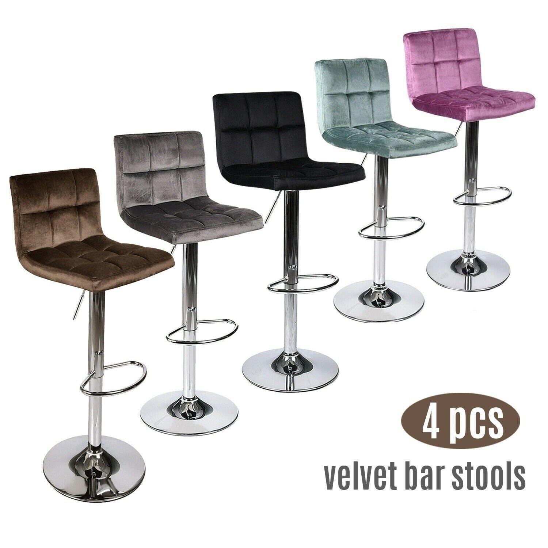 Set Of 4 Bar Stools Velvet Adjustable Swivel Kitchen Pub Dining Chair Multicolor