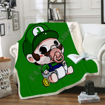 Super Mario Cartoon Blanket Design Flannel Fleece Blanket Printed Children Warm Bed Throw Blanket Kids Blanket style-5 фото