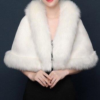 Bridal Shawl Fur Stole Faux Wrap Evening Dress Bolero Wedding Cape 2020 Winter Cloak