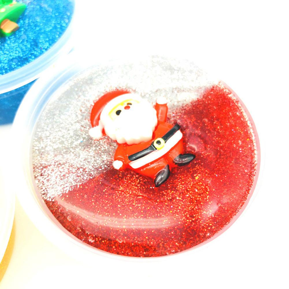 Color Matching Slime Christmas Crystal Mud Fluffy Slime Stress Relief Toy Santa Plasticine Random Delivery