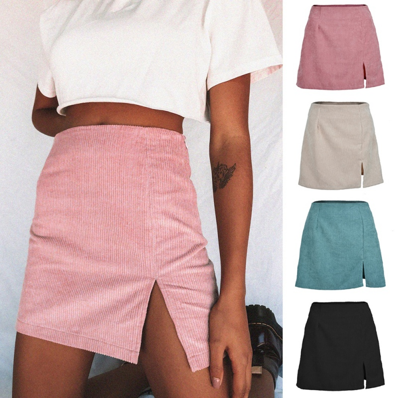 Skirts Womens Sexy Slim Corduroy Short High Waist Bodycon Mini Skirt Autumn Solid Color Mini Faldas Mujer Moda 2019